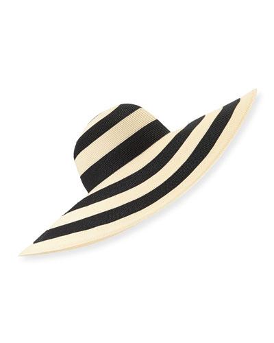 Sunny Striped Wide-Brim Sun Hat