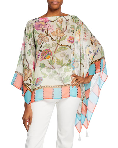 Silk Chiffon Engineer-Border Poncho