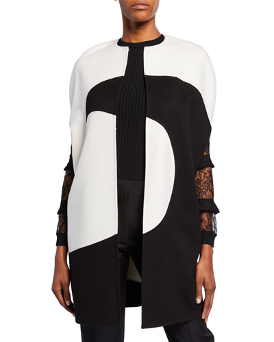 Draped Moon-Print Cape