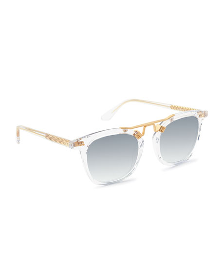 Krewe Sunglasses LAFAYETTE RECTANGLE ACETATE & METAL SUNGLASSES