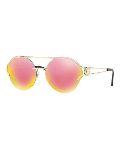 Forked Metal Round Rimless Sunglasses