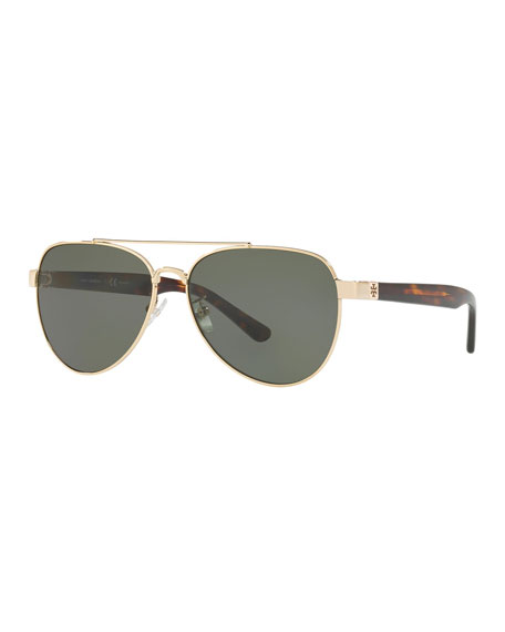 Tory Burch 57mm Polarized Aviator Sunglasses - Gold/ Green Solid