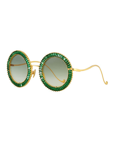Magic You Round Sunglasses w/ Crystal Trim