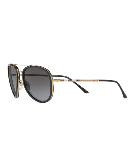 8c7806248489 Burberry Steel Aviator Sunglasses W  Check Arms In Pewter