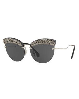 4a376723903 Miu Miu Crystal Trim Rimless Cat-Eye Sunglasses