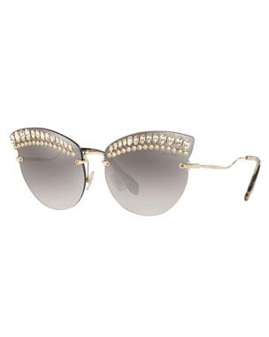 f929fd133d6 Miu Miu Crystal Trim Rimless Cat-Eye Sunglasses