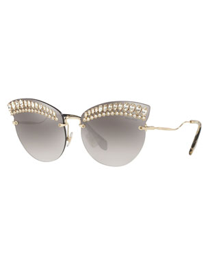 7ee4f766d28d Miu Miu Crystal Trim Rimless Cat-Eye Sunglasses