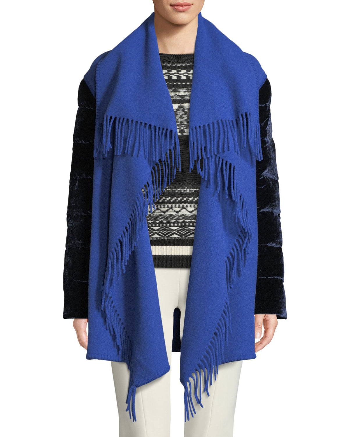 Mantella Fringed Shawl Collar Quilted Sleeve Wool Cape by Moncler