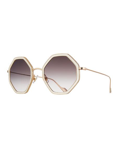 Sunday Somewhere Sunglasses HITOMI ACETATE & METAL OCTAGONAL SUNGLASSES