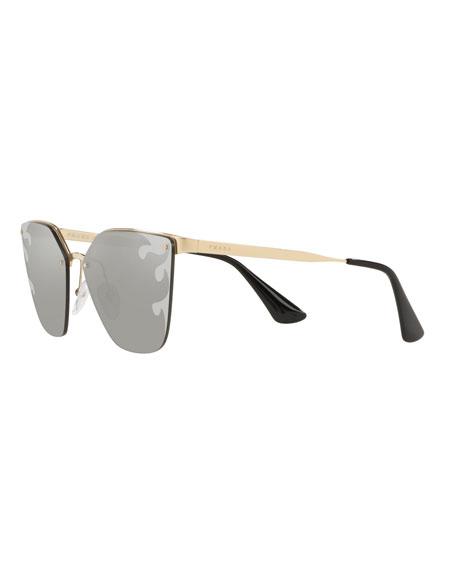 66c1aad76918 Prada Semi-Rimless Mirrored Cat-Eye Sunglasses In Gold