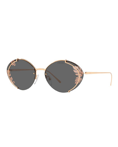 Semi-Rimless Oval Leaf Printed Sunglasses