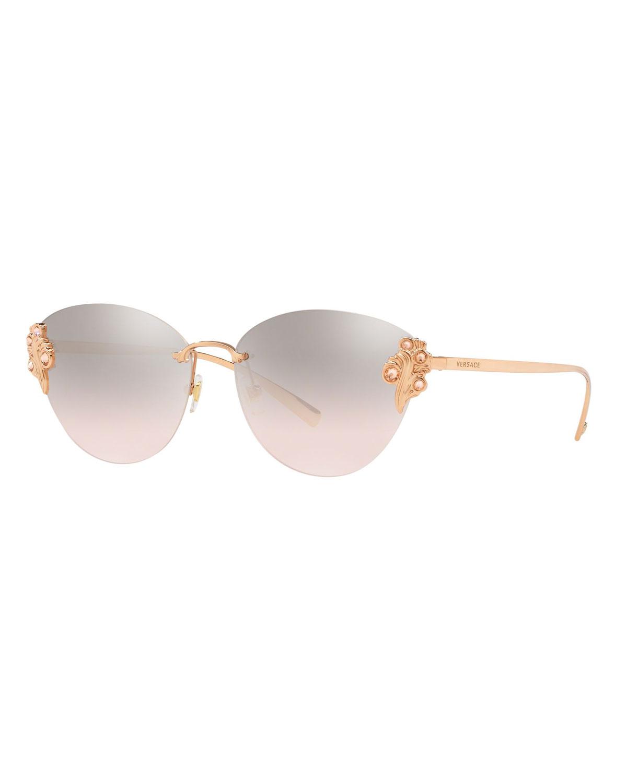 f6bb7811e424 Versace Rimless Mirrored Cat-Eye Sunglasses w  Crystal Trim