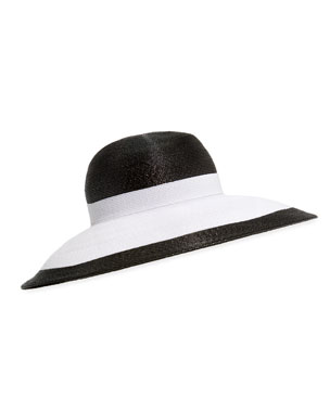 8e1f3e1d270d5 Kokin Joan Two-Tone Lacquered Straw Structured Hat. Favorite. Quick Look