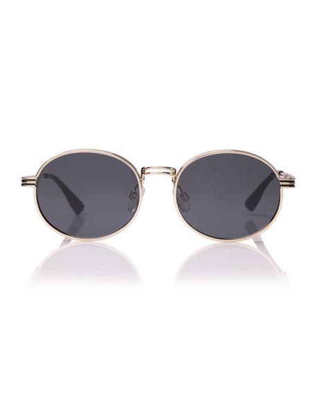 Le Specs Luxe Semi-Rimless Round Sunglasses