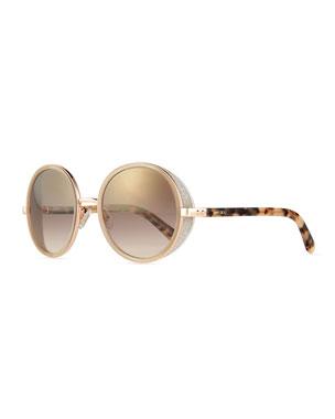 01aa1acc8664 Jimmy Choo Andie Round Glitter-Trim Sunglasses