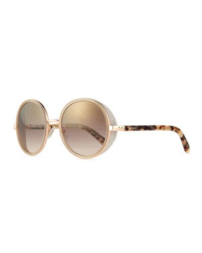 Andie Round Glitter-Trim Sunglasses
