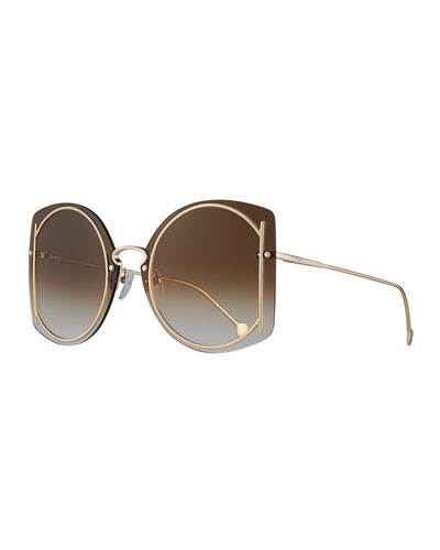Gancio Rimless Butterfly Sunglasses