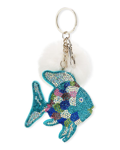 Girls' Crystal Fish Key Chain w/ Fur Pompom