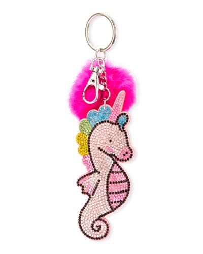 Girls' Crystal Sea Horse Key Chain w/ Fur Pompom