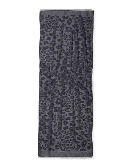 Metallic Leopard-Print Scarf