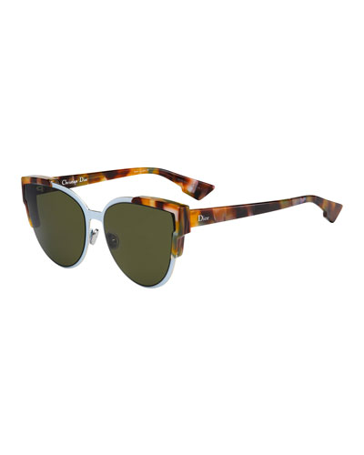 Wildly Dior Cat-Eye Sunglasses  Havana/Light Blue
