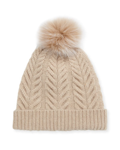 Staghorn Cable Knit Hat w/ Fur Pompom  Beige