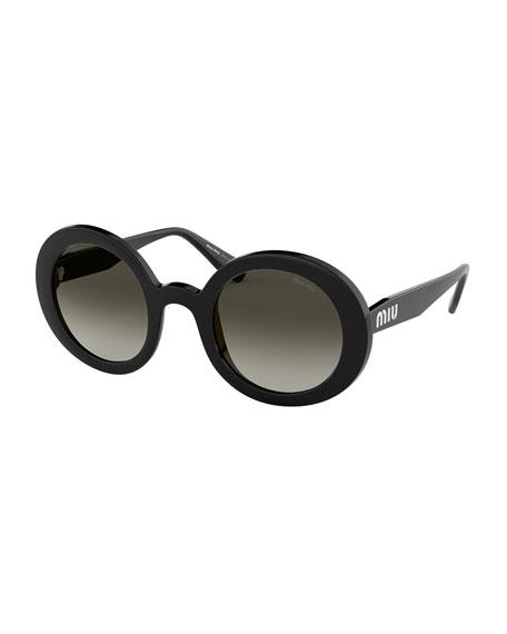 4fed50036f7 Miu Miu Round Gradient Sunglasses In Transparent Smoke Glitter   Gradient  Grey Mirror Silver