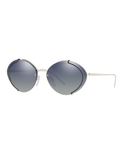 Semi-Rimless Mirrored Oval Sunglasses