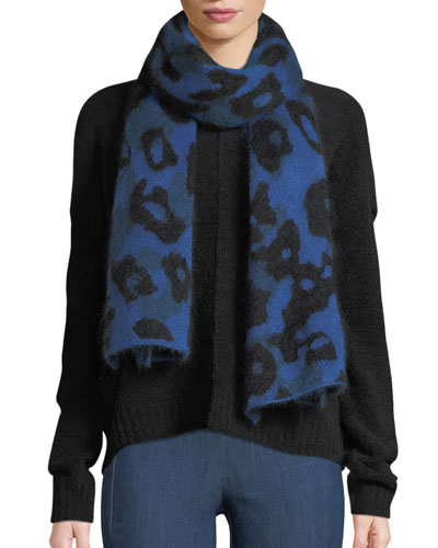 Leopard-Print Mohair Rectangle Scarf