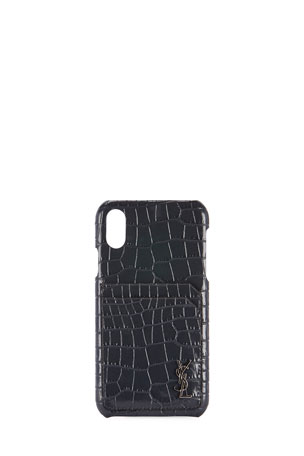 Saint Laurent Crocodile-Embossed Phone Case, iPhone XS