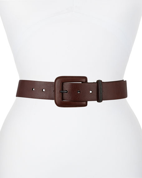 Brunello Cucinelli Monili-Catch Leather Belt