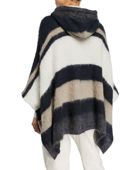 Brunello Cucinelli Mohair Alpaca Striped Half-Zip Poncho