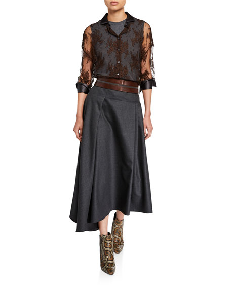 Brunello Cucinelli Monili-Striped Wide Leather Belt