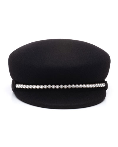Sabrina Wool Newsboy Hat w/ Swarovski Pearl Trim
