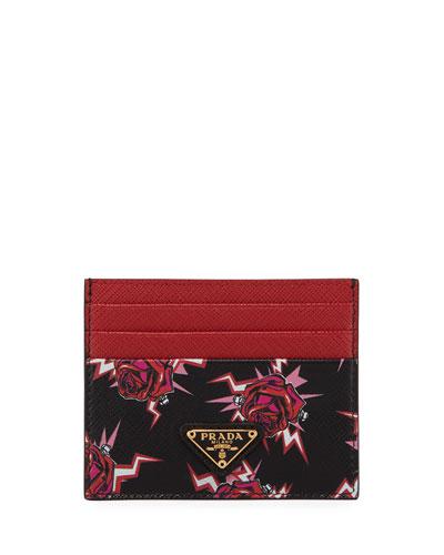 Saffiano Rose Card Case