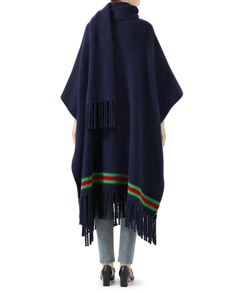 Gucci Oversized Wool Moss Scarf Cape