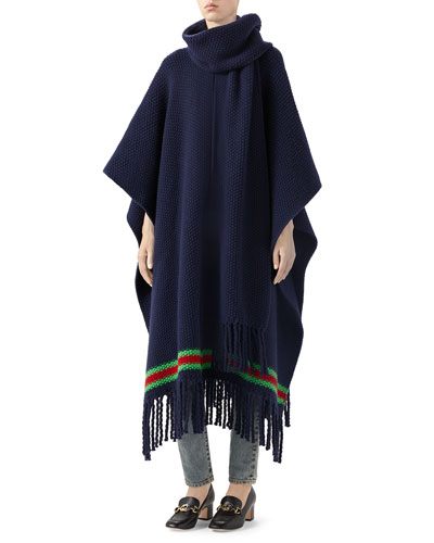 Oversized Wool Moss Scarf Cape