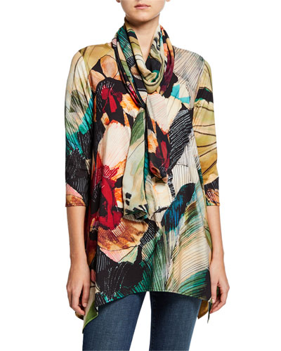 Autumn Hues Abstract Georgette Scarf