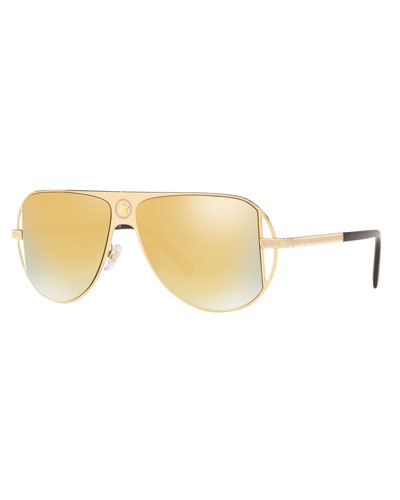 Mirrored Aviator Sunglasses w/ Greek Key Arms