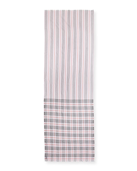Burberry Icon Stripe & Vintage Check Gauze Scarf