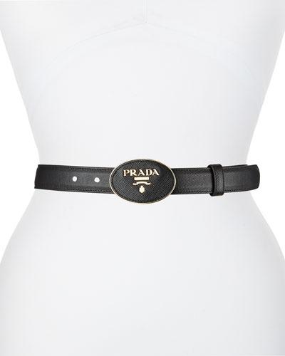 Oval Logo-Buckle Leather Belt