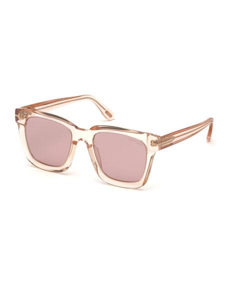 TOM FORD Square Transparent Acetate Sunglasses