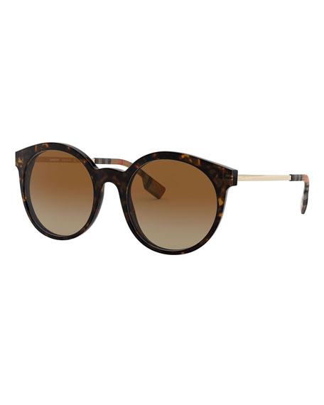 Burberry Round Acetate & Metal Sunglasses