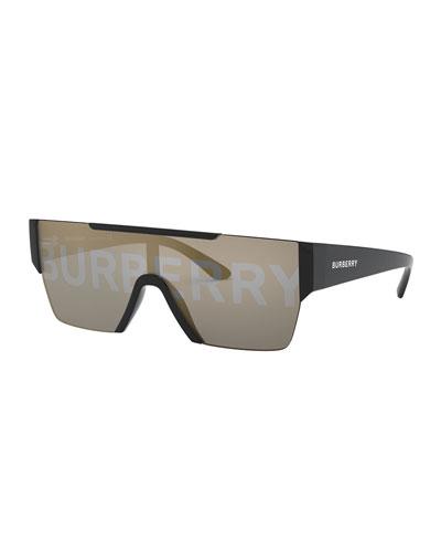 Acetate Shield Sunglasses w/ Logo Print Lens