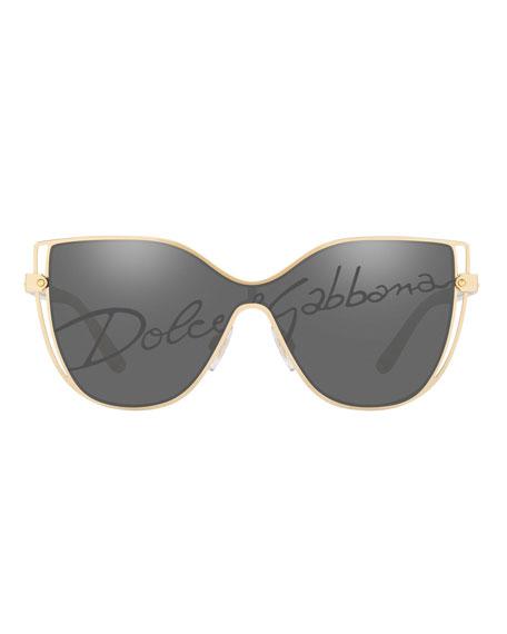 Dolce & Gabbana Metal Butterfly Shield Sunglasses w/ Logo Print Lens