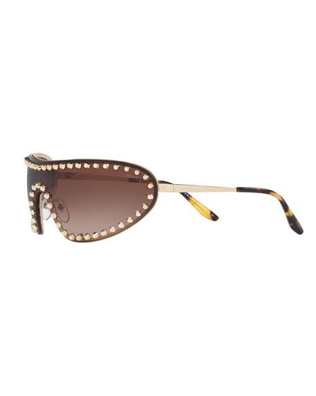 Prada Studded Metal Shield Sunglasses