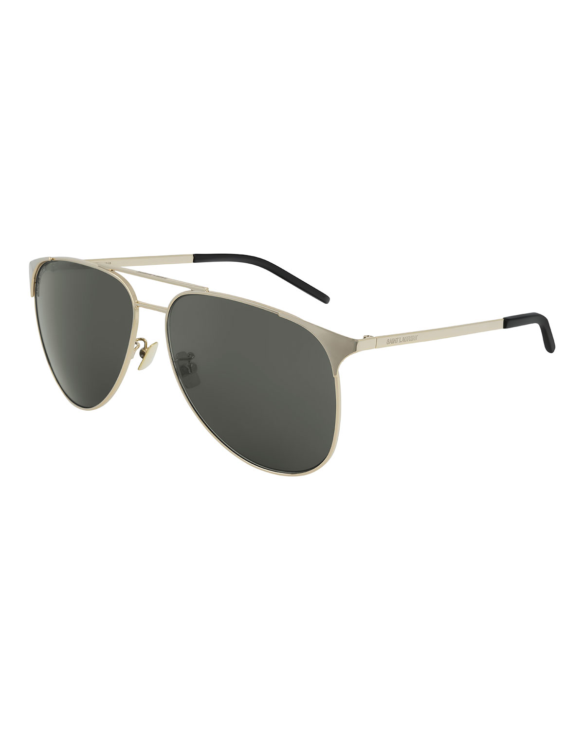 Saint Laurent Monochromatic Metal Rectangle Sunglasses