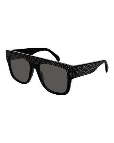 Flattop Rectangle Studded Acetate Sunglasses
