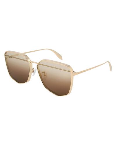 Irregular Metal Aviator Sunglasses