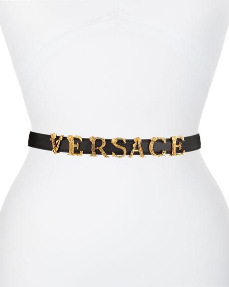 Versace Leather Belt w/ Logo Lettering Hardware